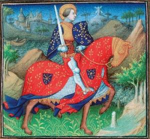 Maître de la Mazarine, Saint Victor chevauchant, 15ème siècle.